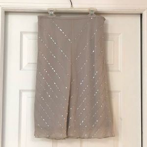 Ann Taylor Skirts - Ann Taylor 100% Silk Grey Skirt with sequins Sz 4